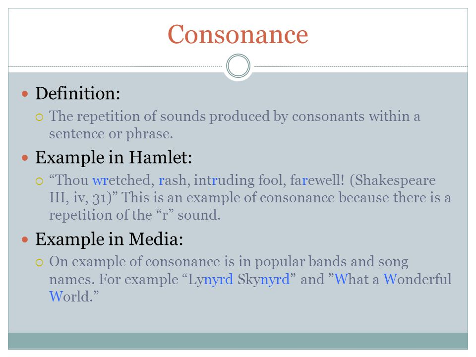 Consonance Definition: Example in Hamlet: Example in Media: