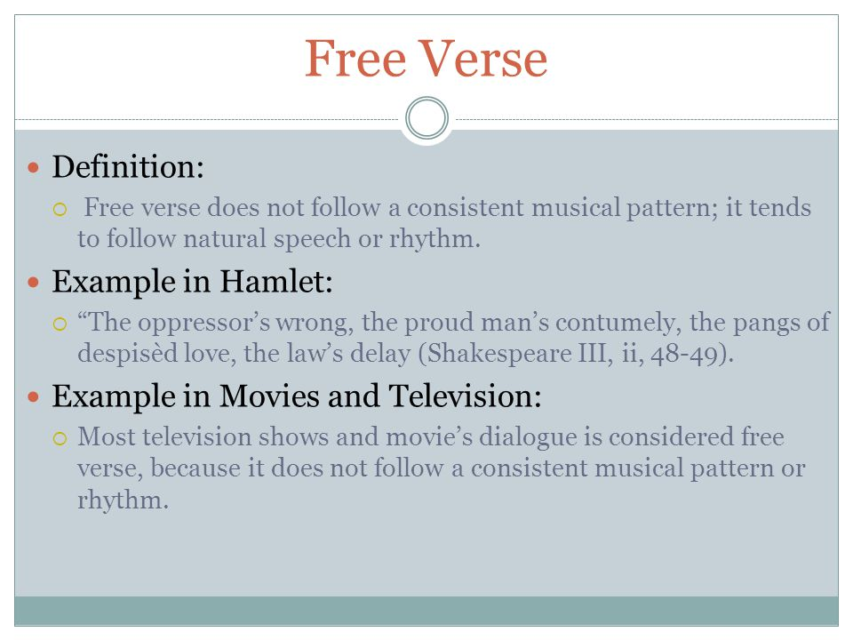 Free Verse Definition: Example in Hamlet:
