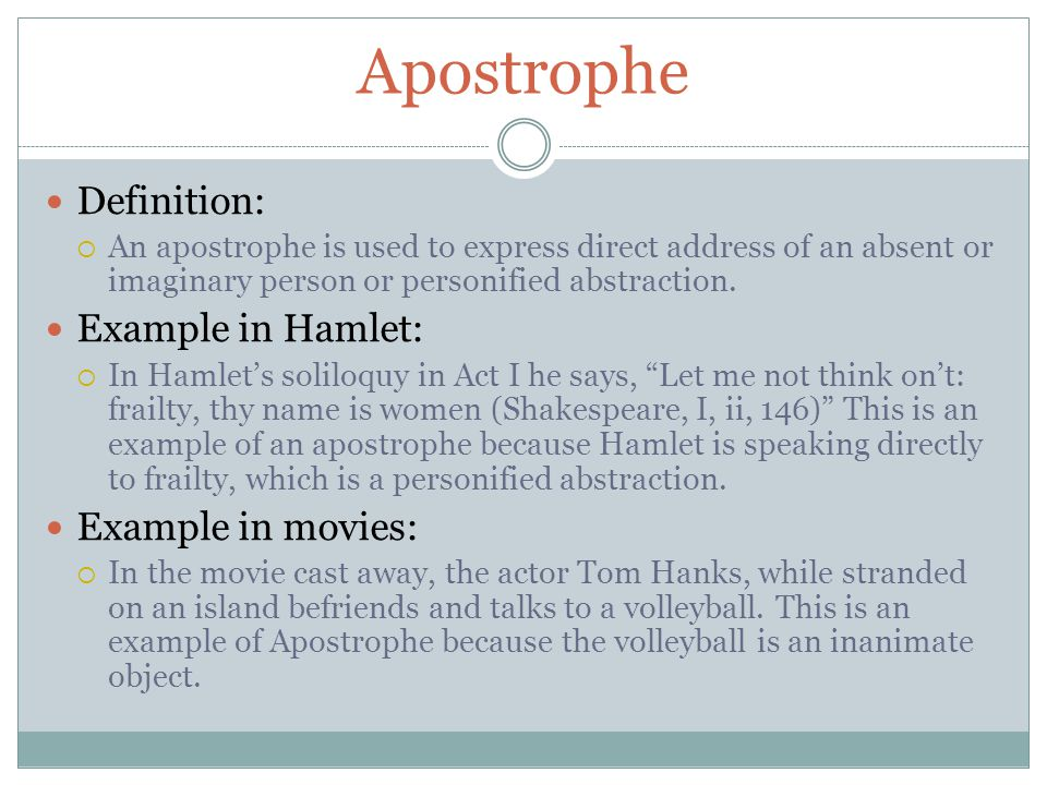 Apostrophe Definition: Example in Hamlet: Example in movies: