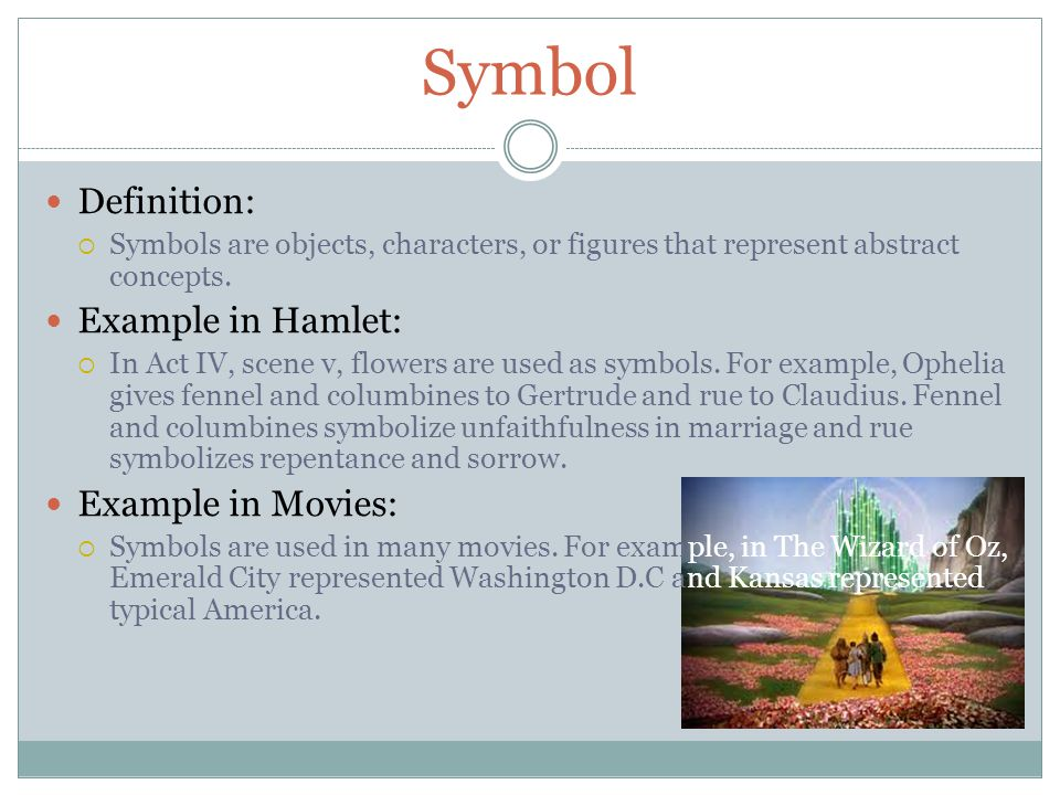 Symbol Definition: Example in Hamlet: Example in Movies: