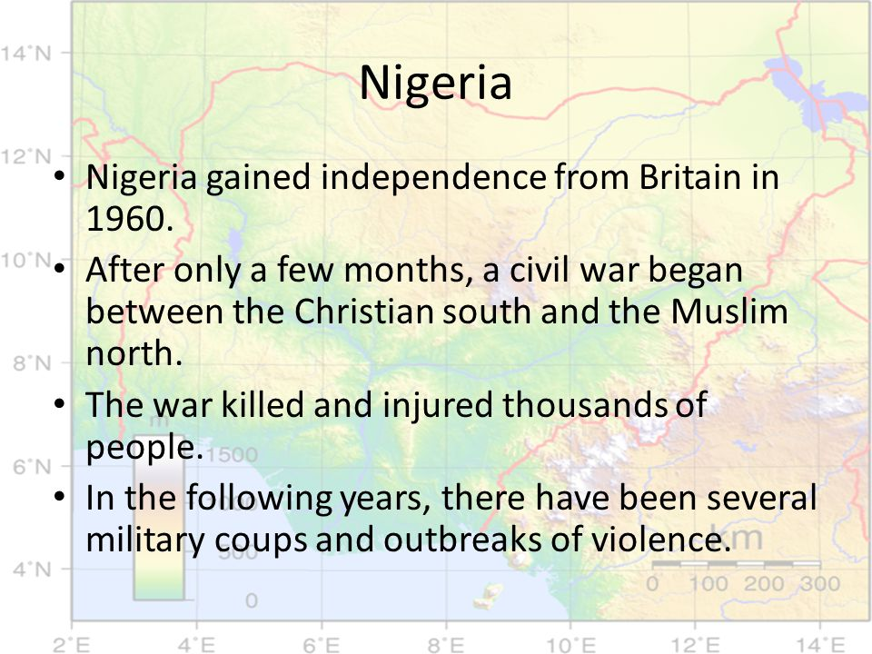 Nigeria Nigeria gained independence from Britain in 1960.