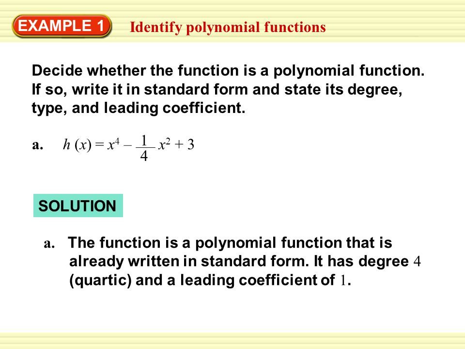 Example 1 Identify Polynomial Functions Ppt Video Online Download