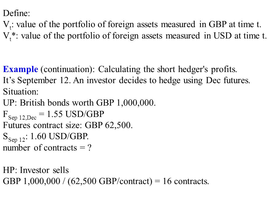 Define: Vt: value of the portfolio of foreign assets measured in GBP at time t.
