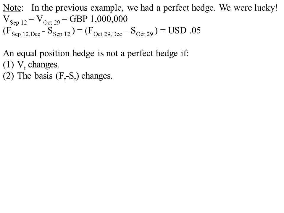 Note: In the previous example, we had a perfect hedge. We were lucky!