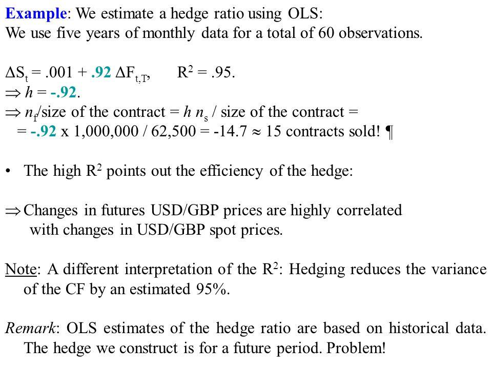 Example: We estimate a hedge ratio using OLS: