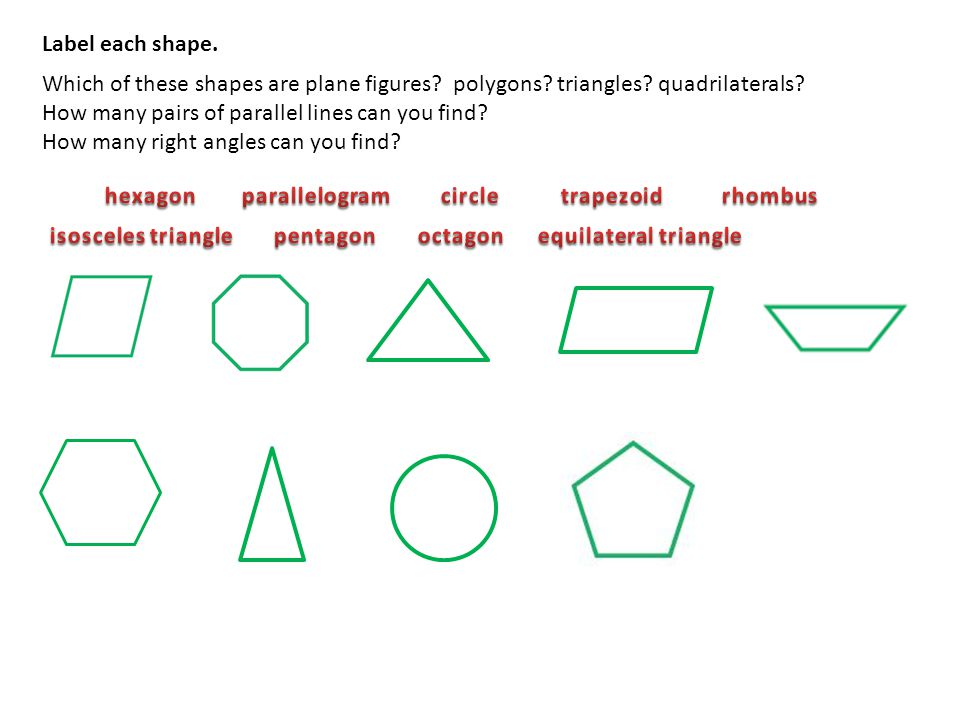 Label each shape. Which of these shapes are plane figures polygons triangles quadrilaterals How many pairs of parallel lines can you find