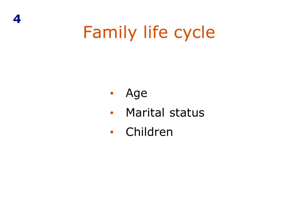 4 Family life cycle Age Marital status Children