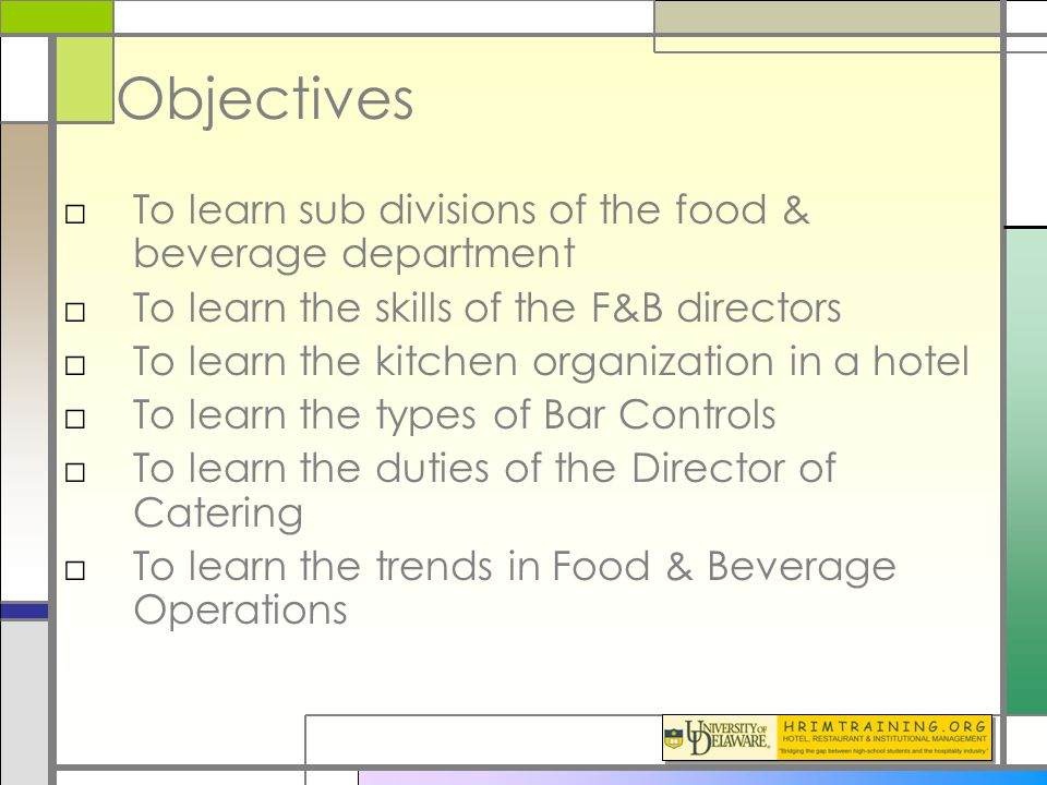 operation department objectives There are objectives within objectives, within objectives  and in turn do they  also relate to the objectives of the research department in that division  and so  on), each broken down by personnel, operation and maintenance, procurement, .