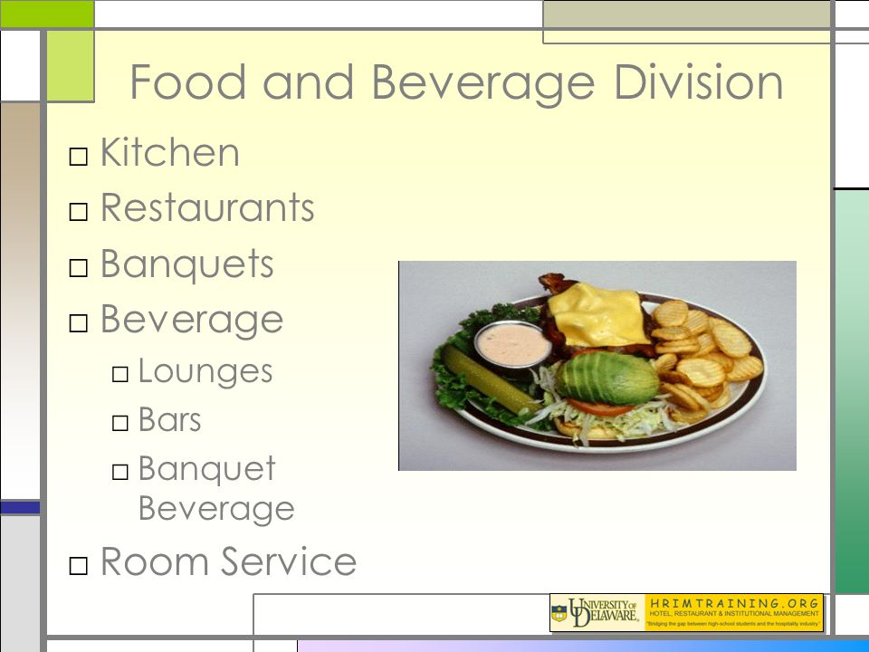 Hotel operation f b division ppt video online download for Hot food bar 3 divisions