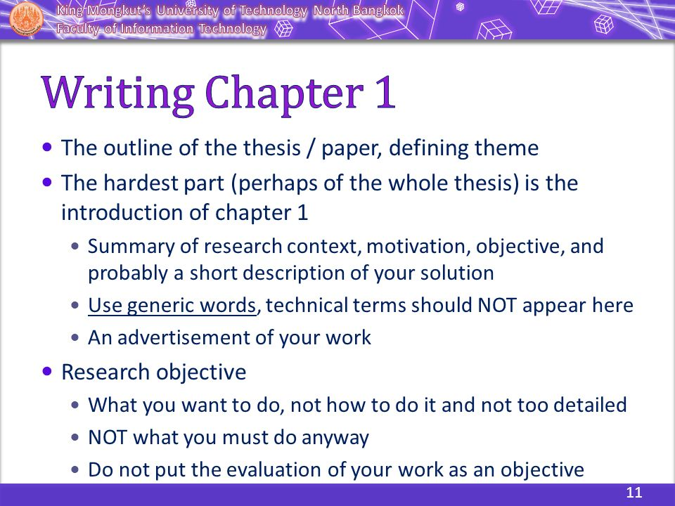 writing chapter 1 of a thesis Chapter 1 prewriting getting started (or soup-can labels can be fascinating) for many writers, getting started is the hardest part you may have noticed that when it is time to begin a writing assignment, you suddenly develop an.