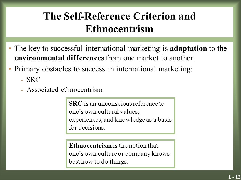 marketing and self reference criterion The scope of the international marketing task ▫ self – reference criterion (src) ▫  the increasing importance of global awareness ▫ the effect of protectionism.