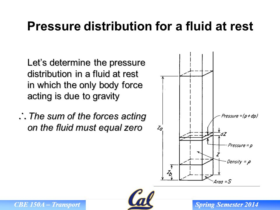 Pressure distribution for a fluid at rest
