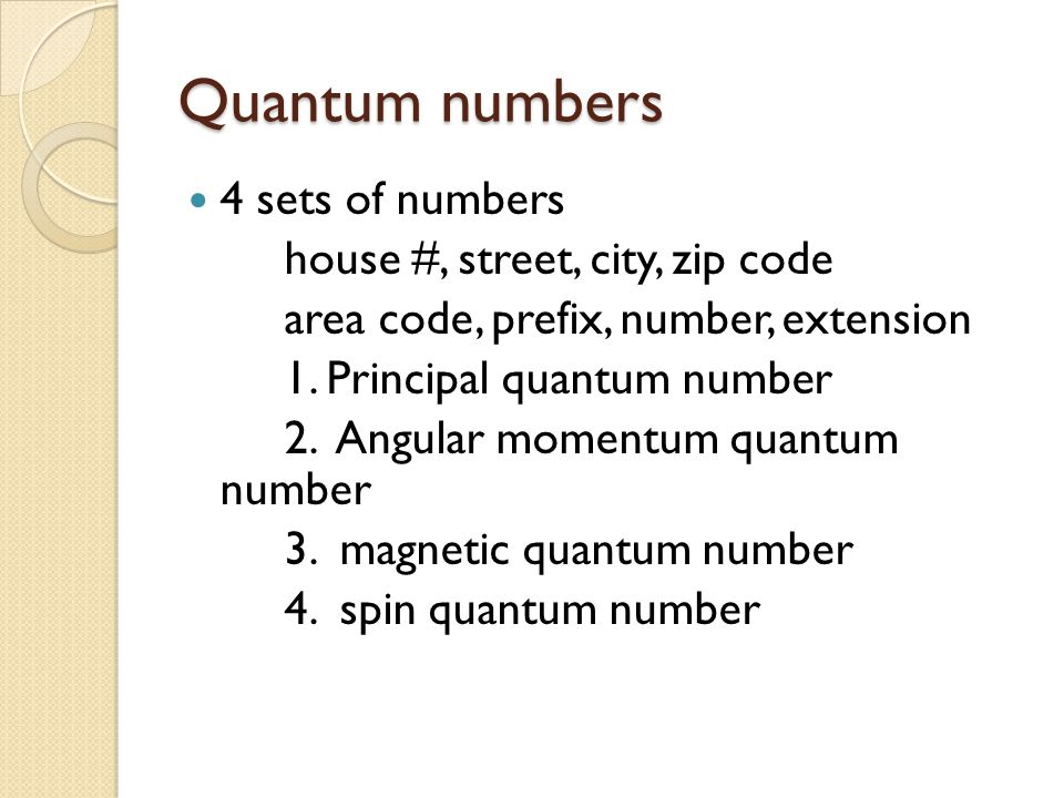Quantum numbers 4 sets of numbers house #, street, city, zip code