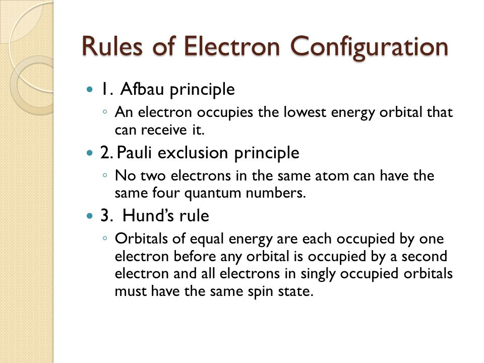 Rules of Electron Configuration