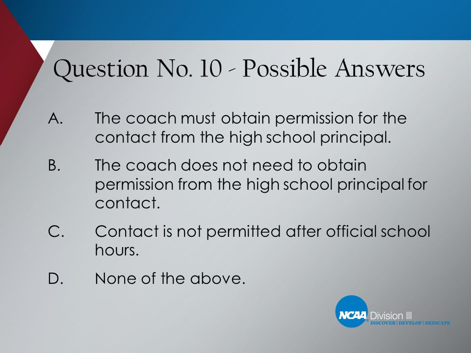 Question No. 10 - Possible Answers