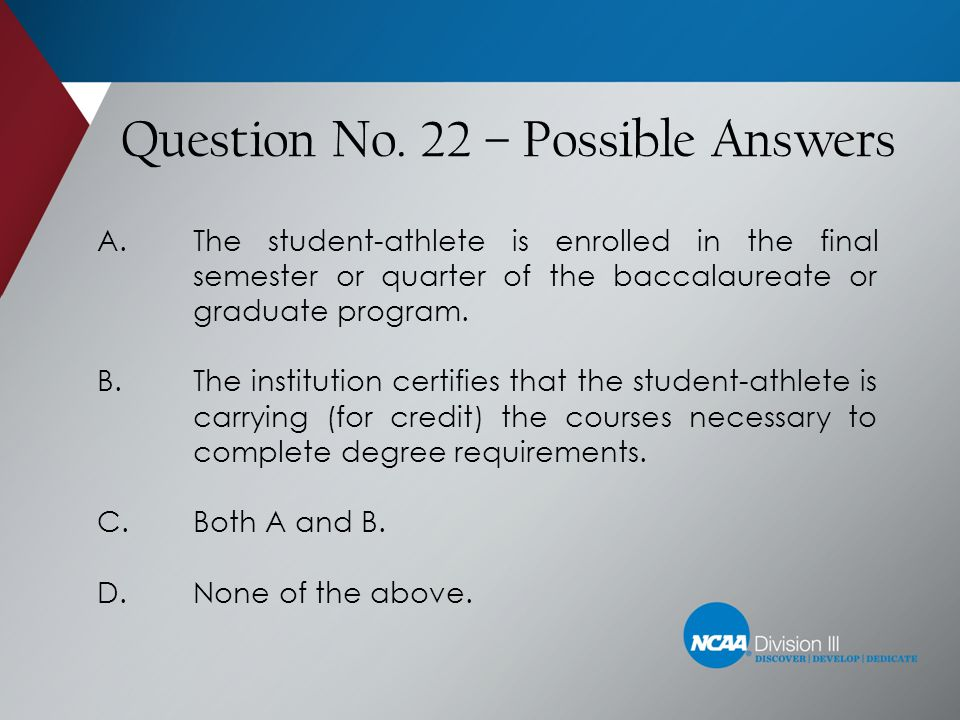Question No. 22 – Possible Answers