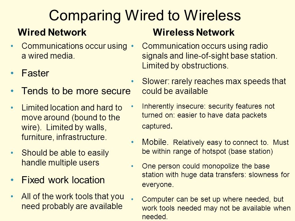 compare and contrast any one wired and wireless communication medium