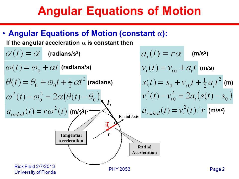 Tangential And Centrip... Angular Velocity Equation