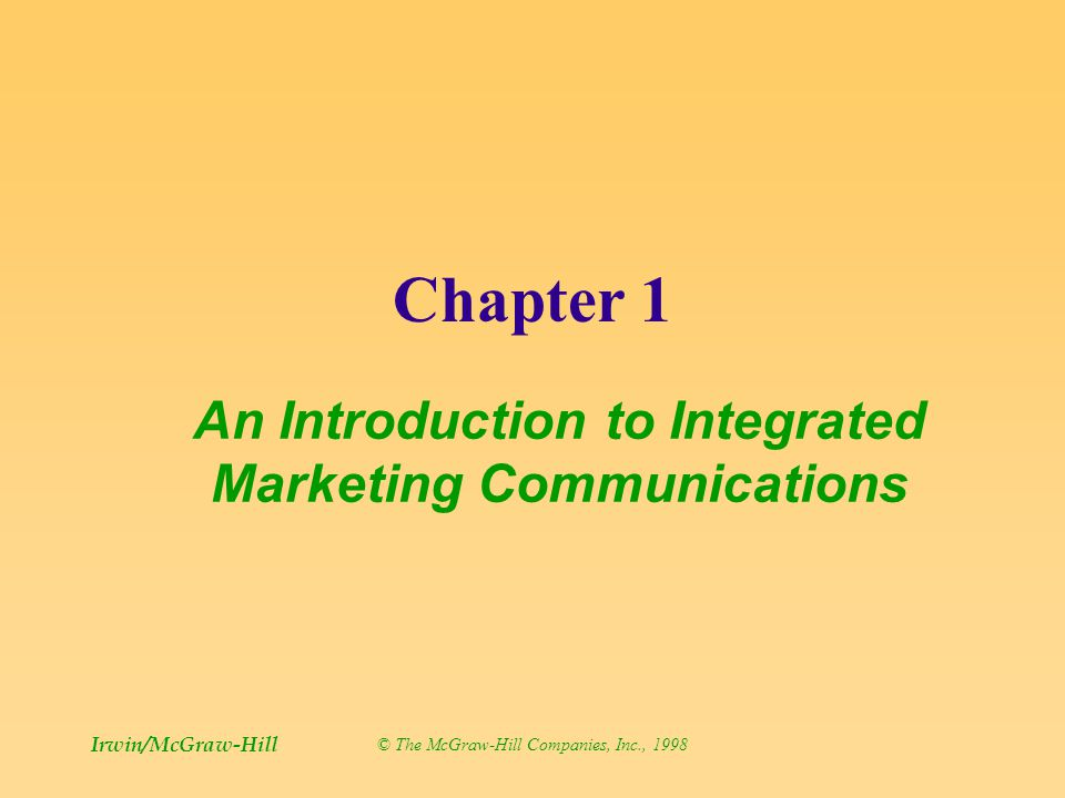 an introduction to the integrated marketing communications imc This course is designed as an introduction to the field of integrated marketing communications (imc), to help you make better marketing communications decisions we will define what integrated marketing communications is.