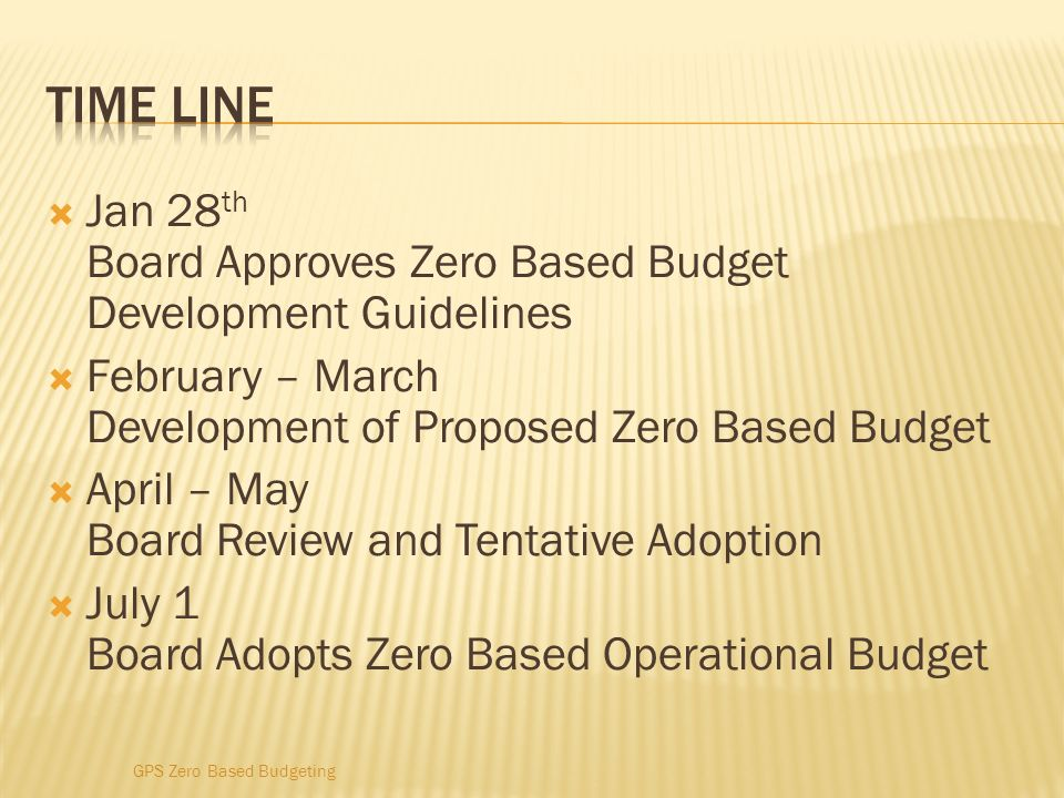 Time line Jan 28th Board Approves Zero Based Budget Development Guidelines. February – March Development of Proposed Zero Based Budget.