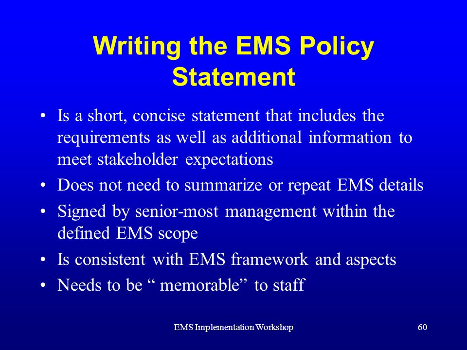 Writing a policy statement