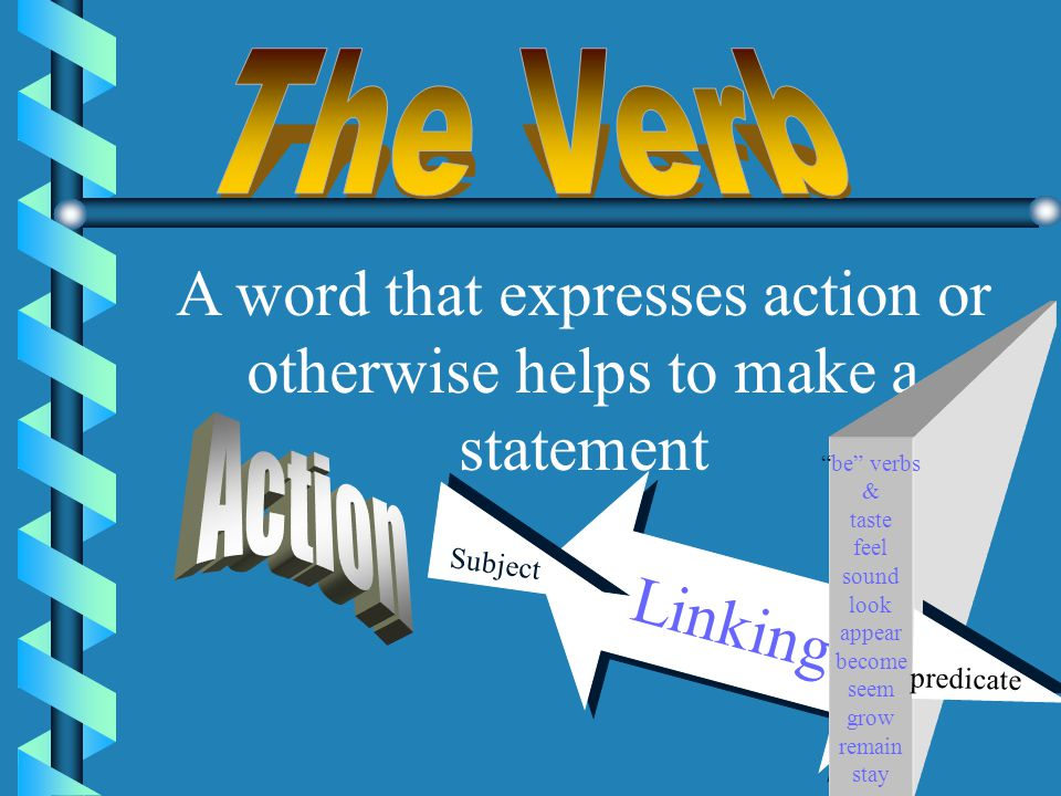 A word that expresses action or otherwise helps to make a statement
