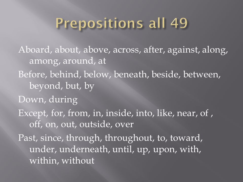 Prepositions all 49