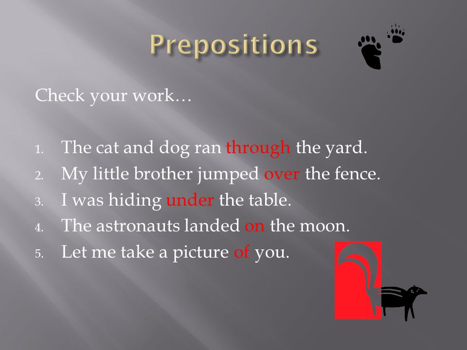 Prepositions Check your work… The cat and dog ran through the yard.
