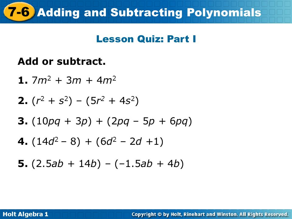 Adding And Subtracting Polynomials Worksheet Holt Mcdougal Stay At. Adding And Subtracting Polynomials Worksheet Holt Mcdougal Kidz. Worksheet. Adding And Subtracting Polynomials Worksheet Perform The Operations At Mspartners.co