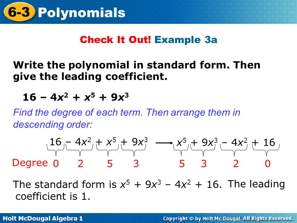 6-3 Polynomials Warm Up Lesson Presentation Lesson Quiz - ppt download