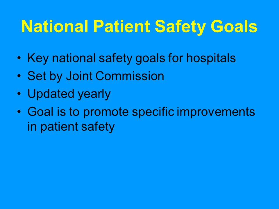 national patient safety goal essay Free essay: the joint commission: national patient safety goals for medicare based long term care the joint commission is a nonprofit organization that.