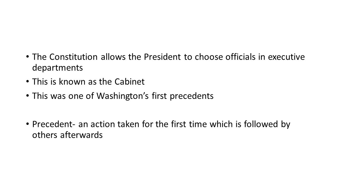 The Constitution allows the President to choose officials in executive departments