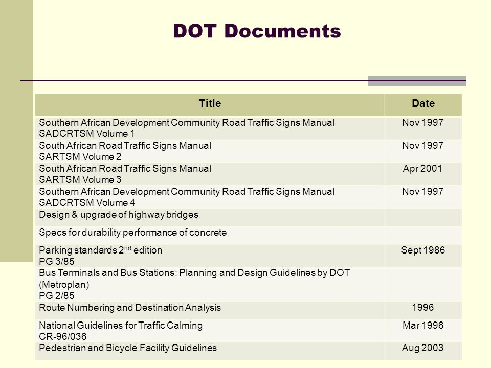 Briefing to portfolio committee on transport ppt video online download 15 dot documents title date southern african development community road traffic signs fandeluxe Images