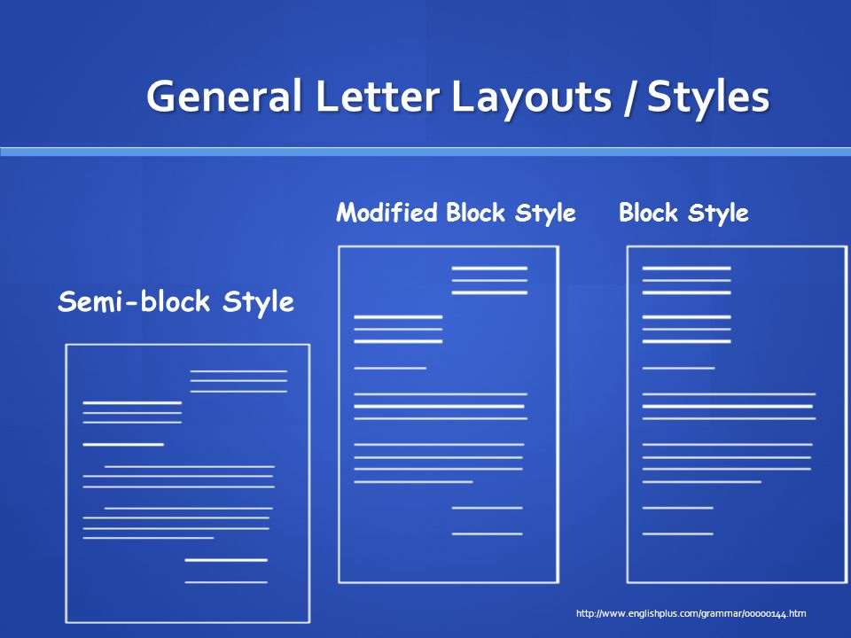 General Letter Layouts / Styles