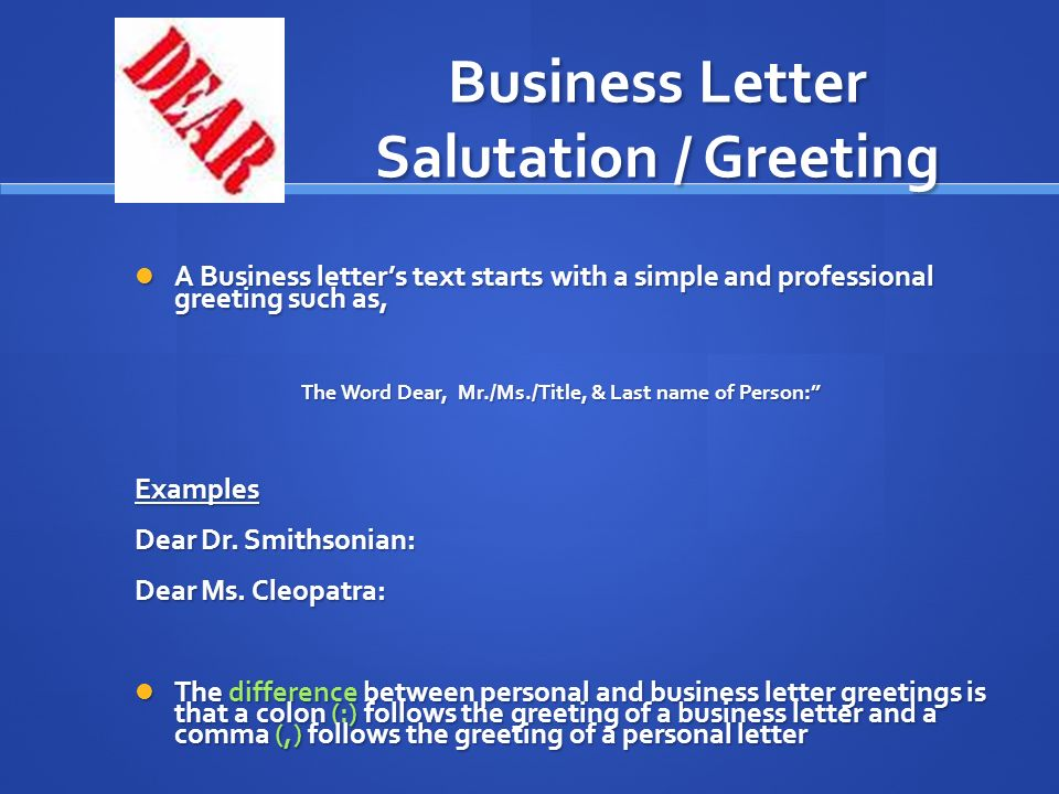 Business Letter Salutation / Greeting