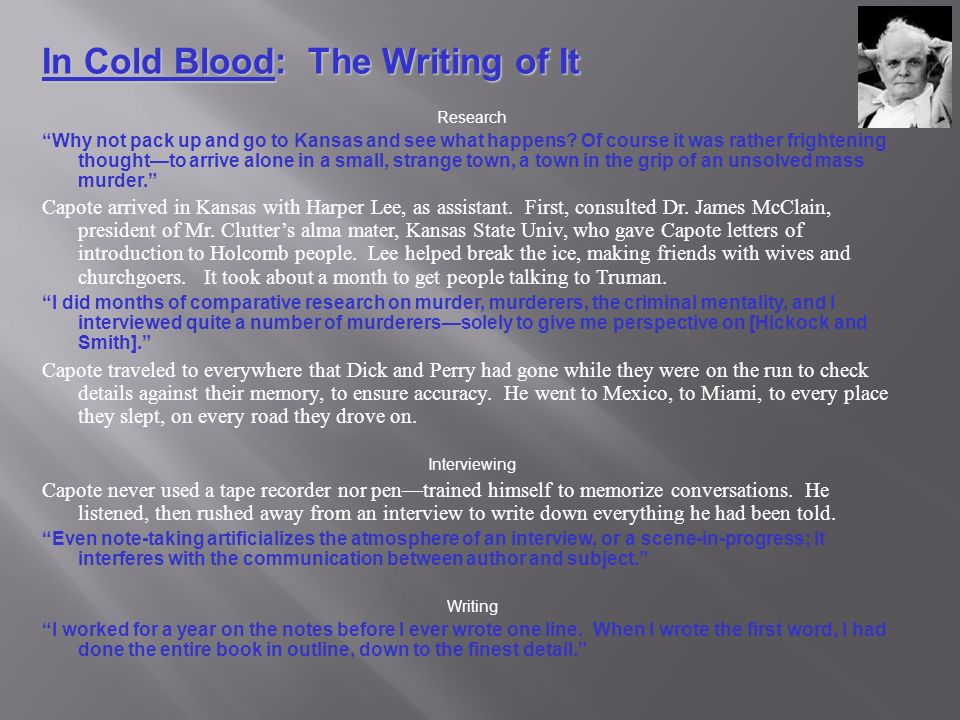 in cold blood questions for essay and discussion Evident in in cold blood, students will be able to explore why this is and what this means smaller questions that fit under this central question include.