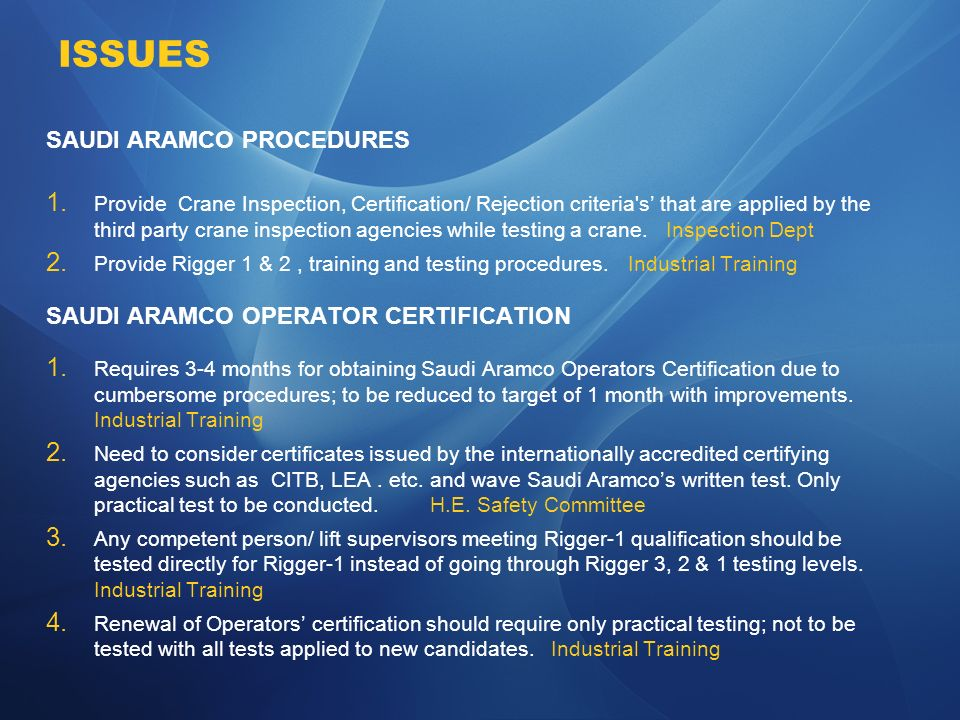 Issues Saudi Aramco Procedures Saudi Aramco Operator Certification