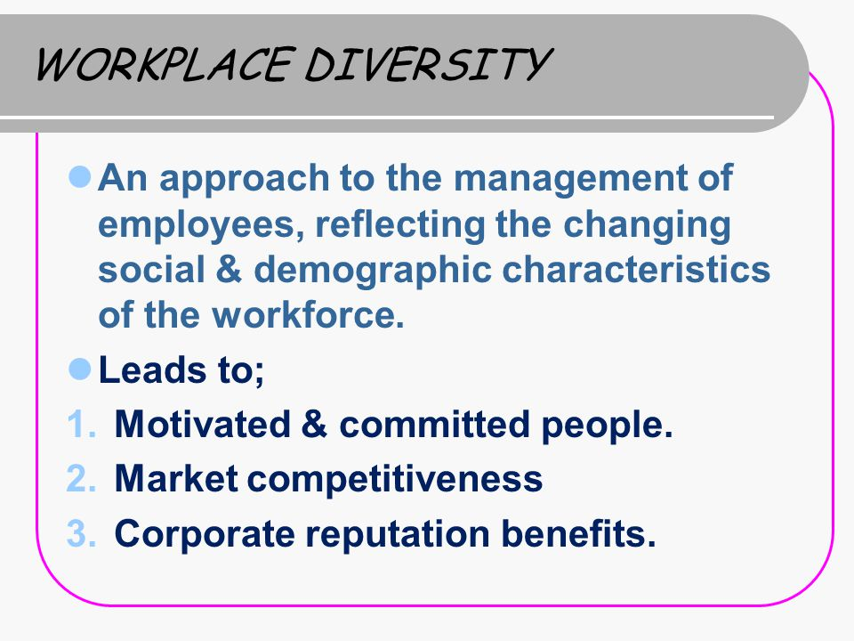 diversity and demographic characteristics Chapter 2 managing demographic and cultural diversity in the united states, demographic characteristics such as race, gender, national origin, age.