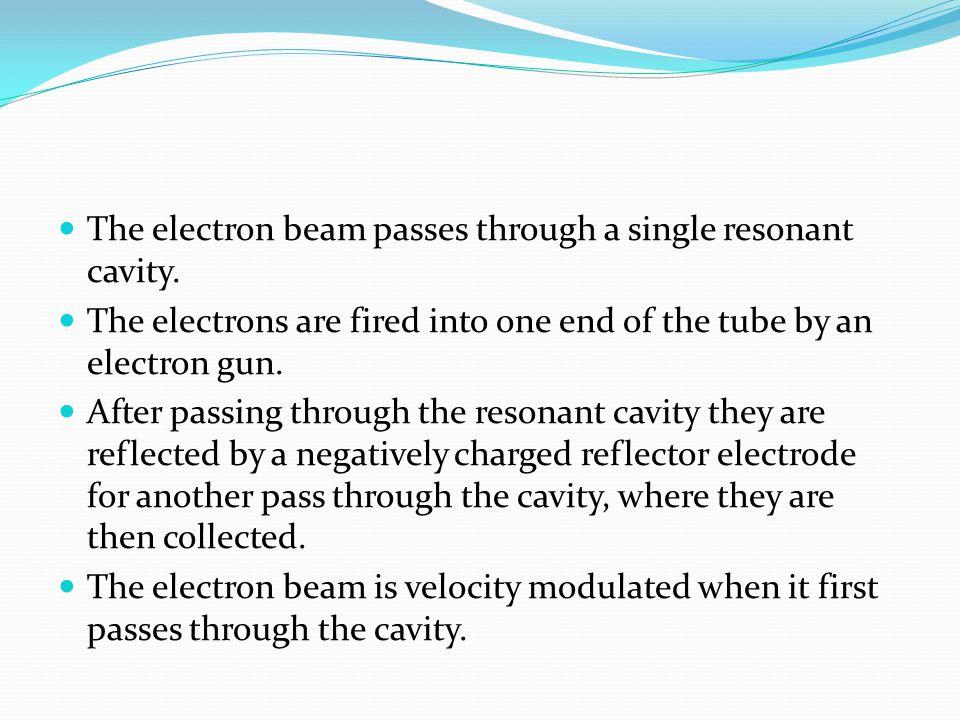 The electron beam passes through a single resonant cavity.