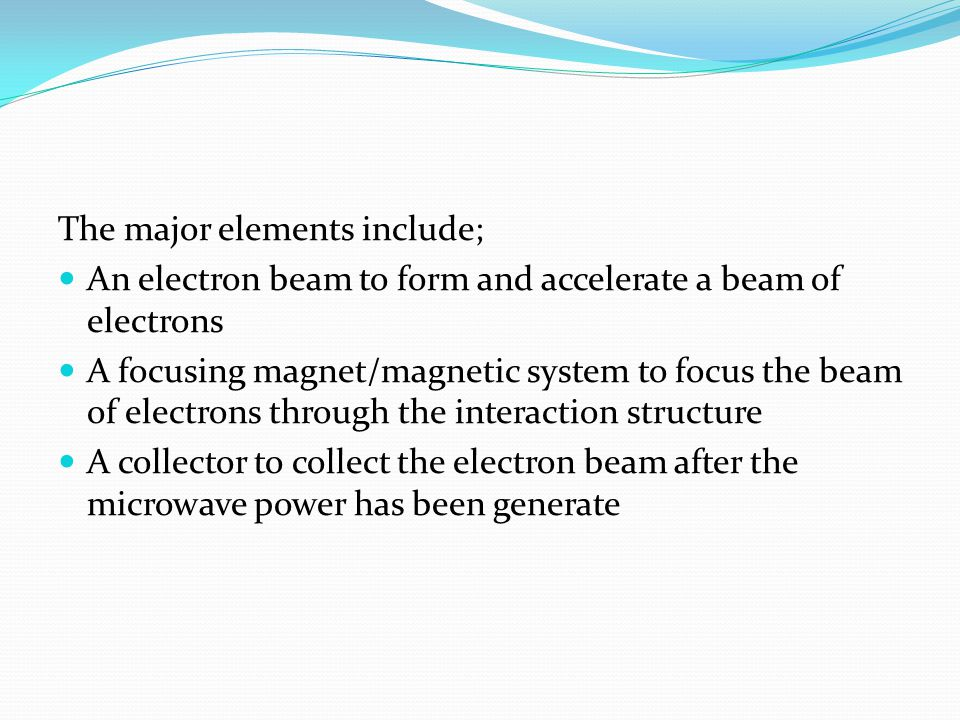 The major elements include;