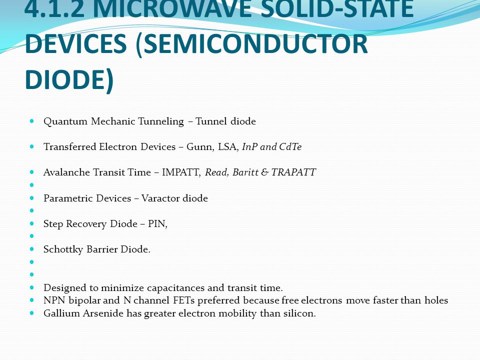 4.1.2 MICROWAVE SOLID-STATE DEVICES (SEMICONDUCTOR DIODE)