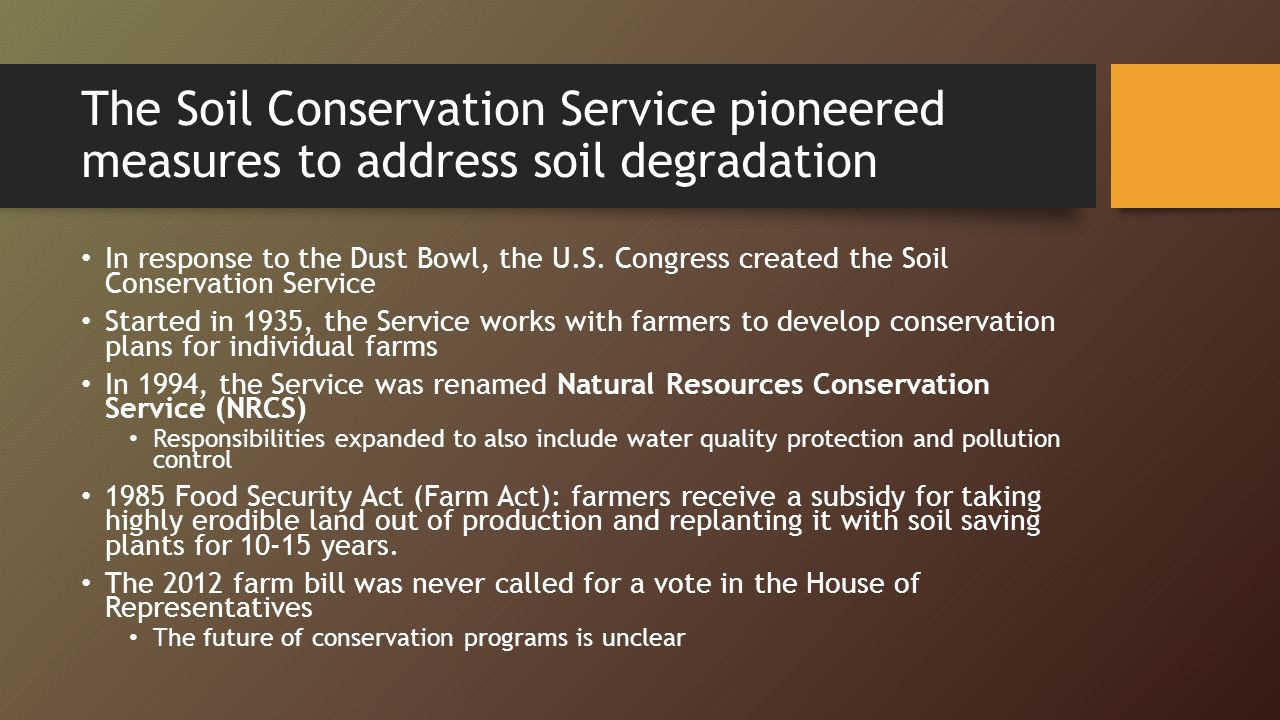 Unit 6 soil and food resources ppt download for Soil conservation act