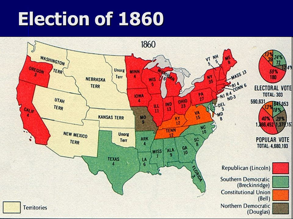 election of 1860 The election of 1860 demonstrated the divisions within the united states just before the civil war the election was unusual because four strong candidates competed for the presidency.