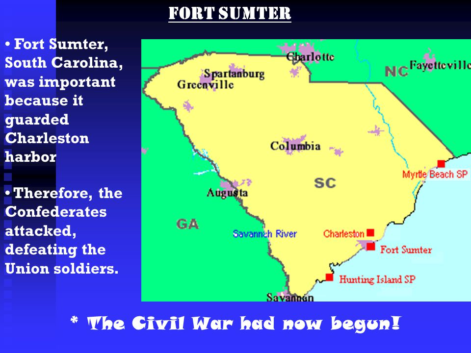 EQ How Did Conflict Between The North And The South Create Change - Fort sumter on us map