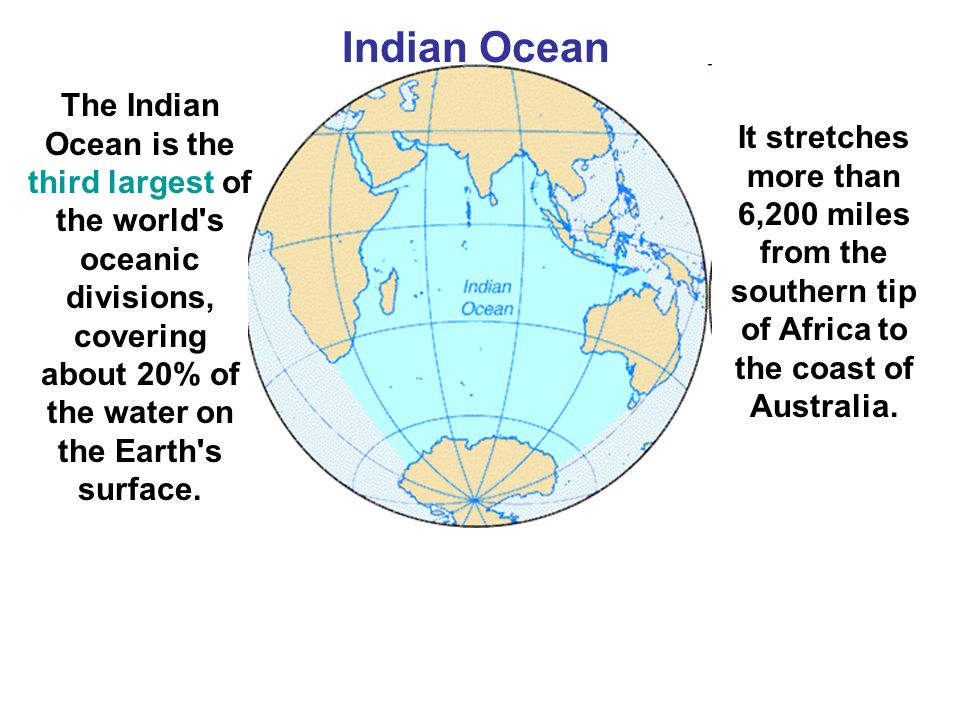 Indian Ocean The Indian Ocean is the third largest of the world s oceanic divisions, covering about 20% of the water on the Earth s surface.