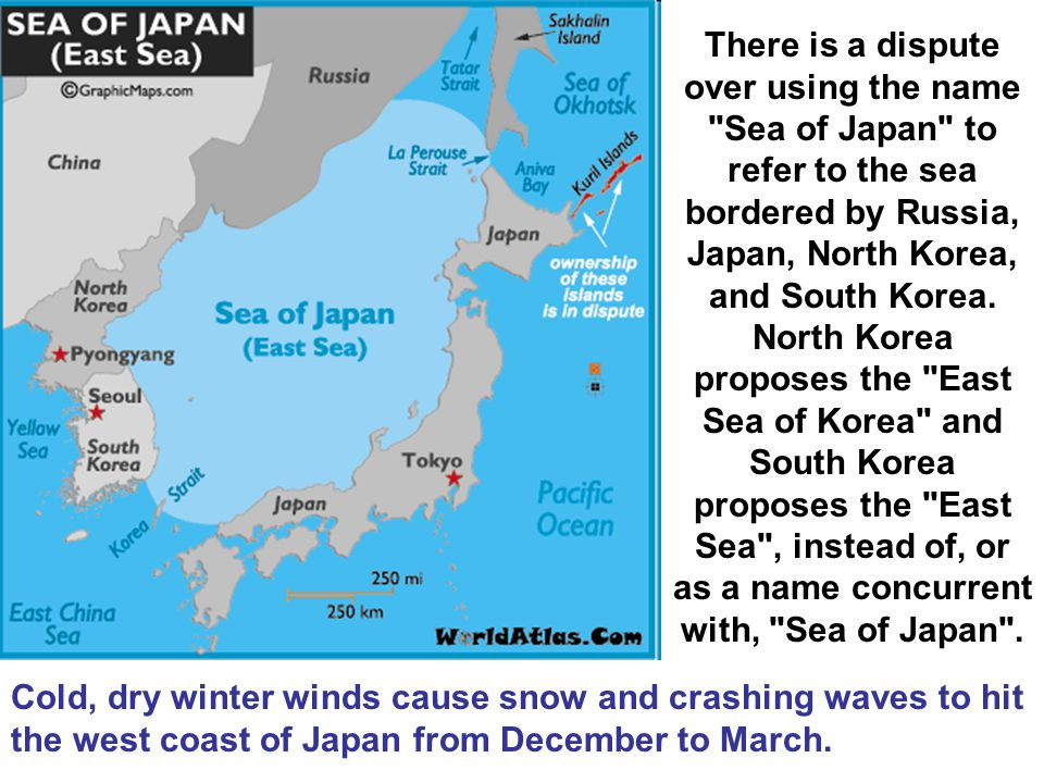 There is a dispute over using the name Sea of Japan to refer to the sea bordered by Russia, Japan, North Korea, and South Korea. North Korea proposes the East Sea of Korea and South Korea proposes the East Sea , instead of, or as a name concurrent with, Sea of Japan .