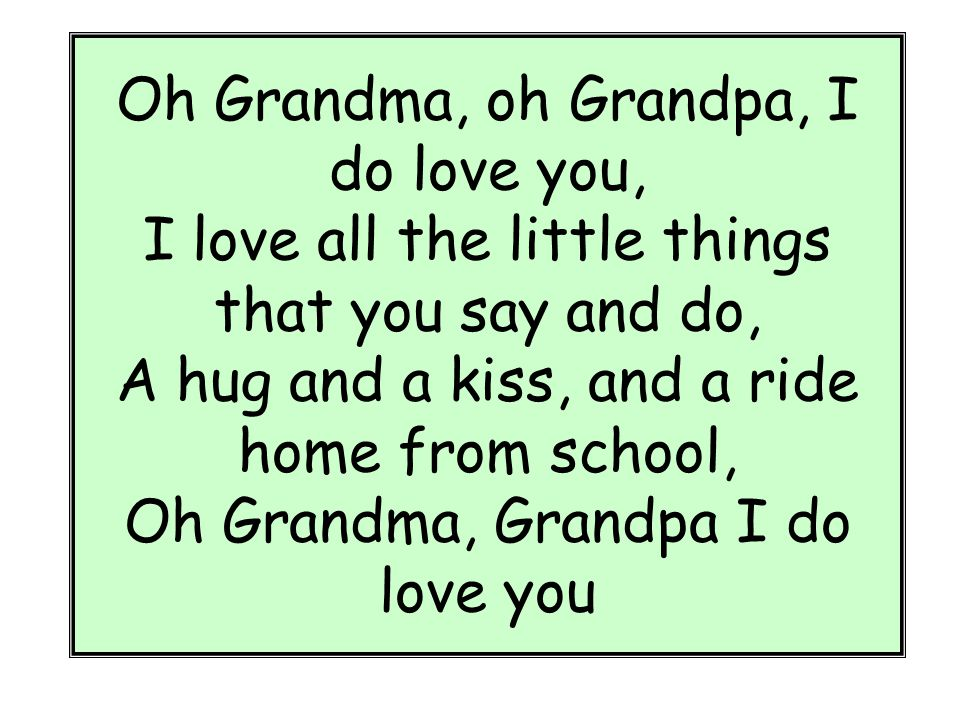 Oh grandma grandpa you know that i love you / Finish line ...