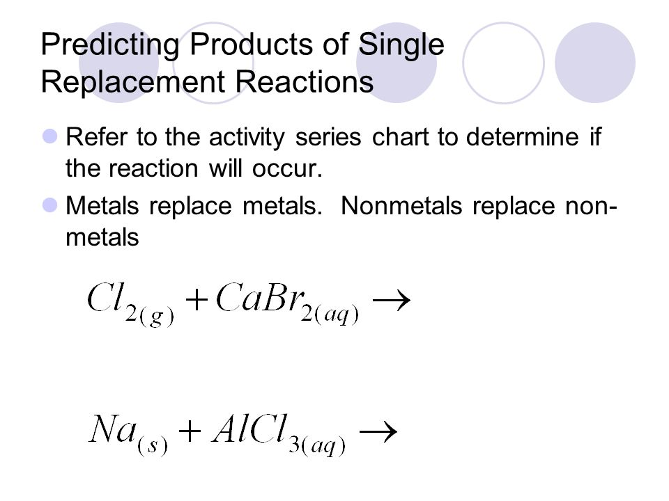 Write A Single Replacement Reactions