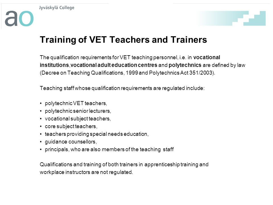 Training of VET Teachers and Trainers