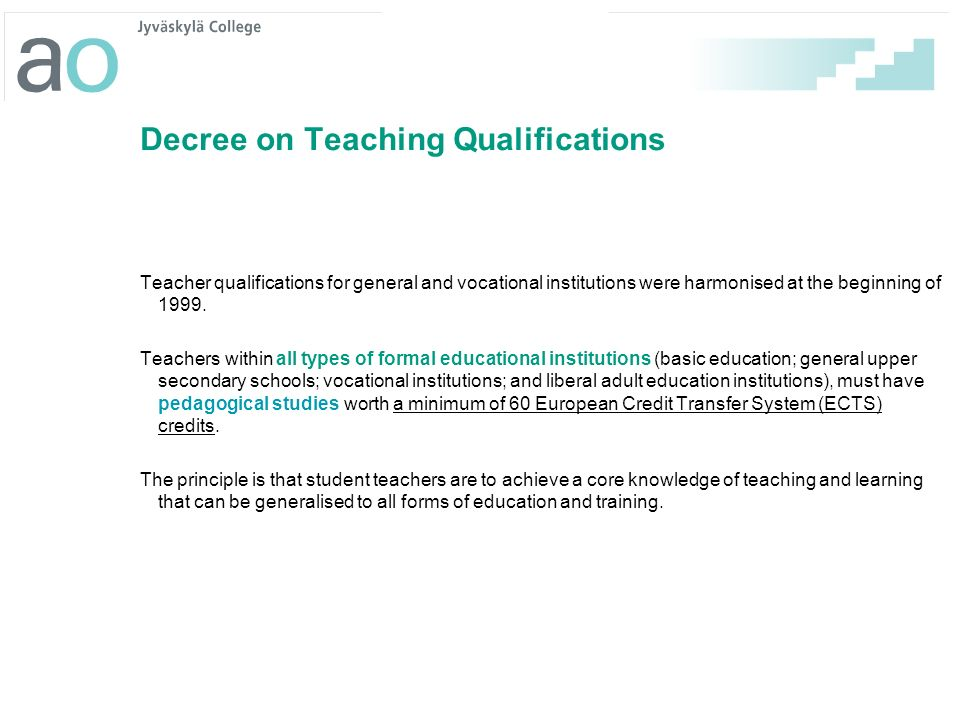 Decree on Teaching Qualifications